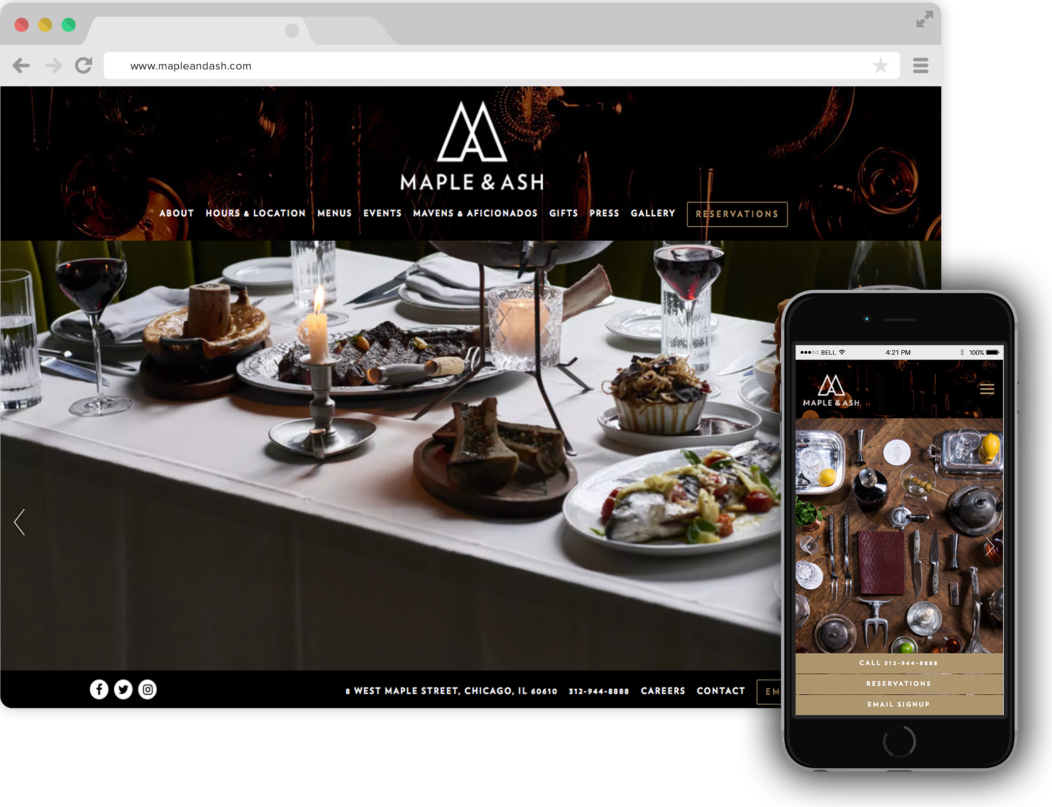 Maple & Ash Restaurant Website