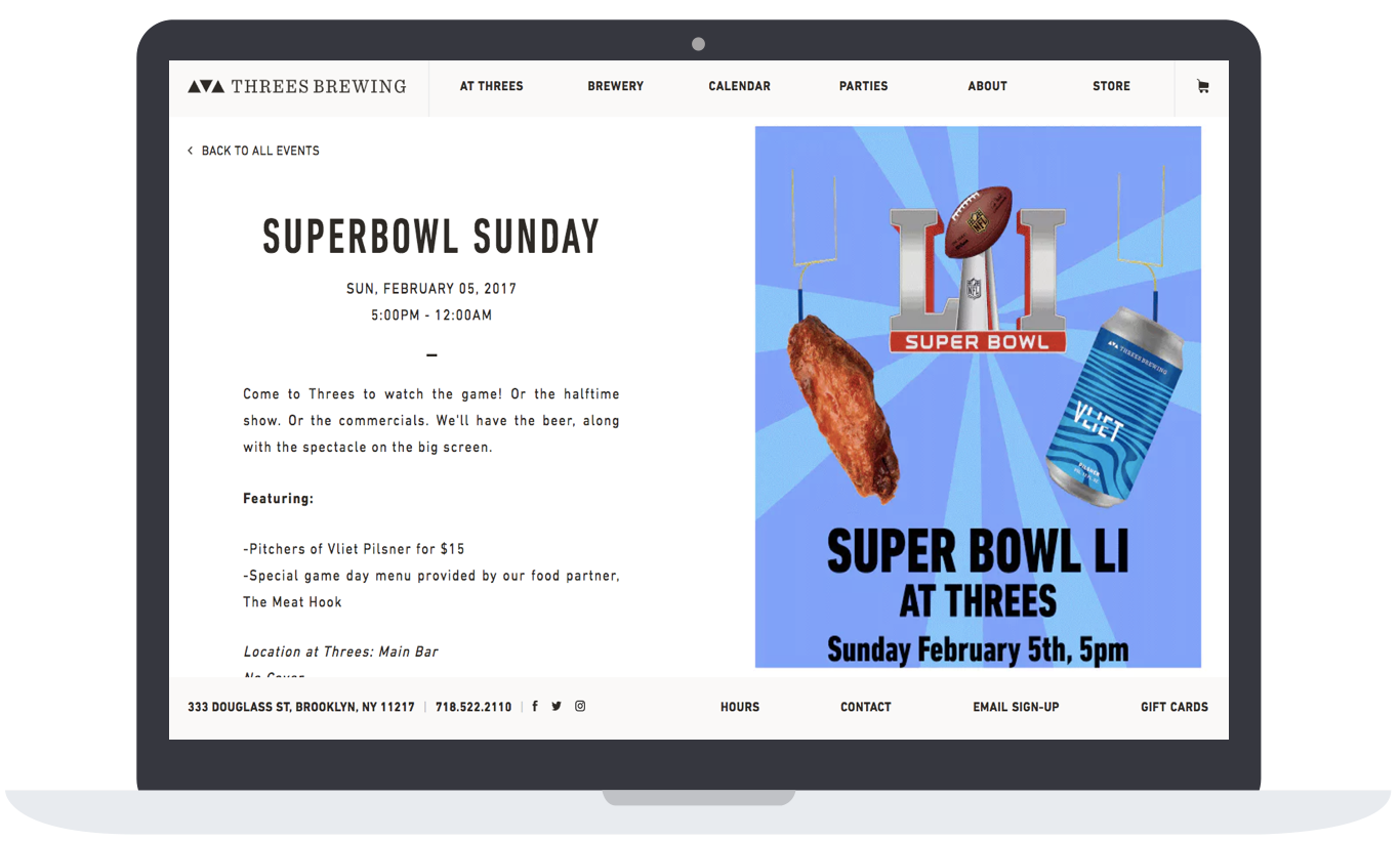 threes brewing super bowl sunday event