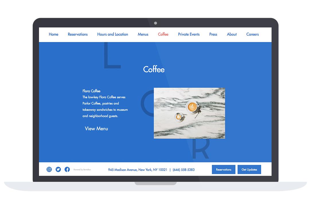 clean typography restaurant website