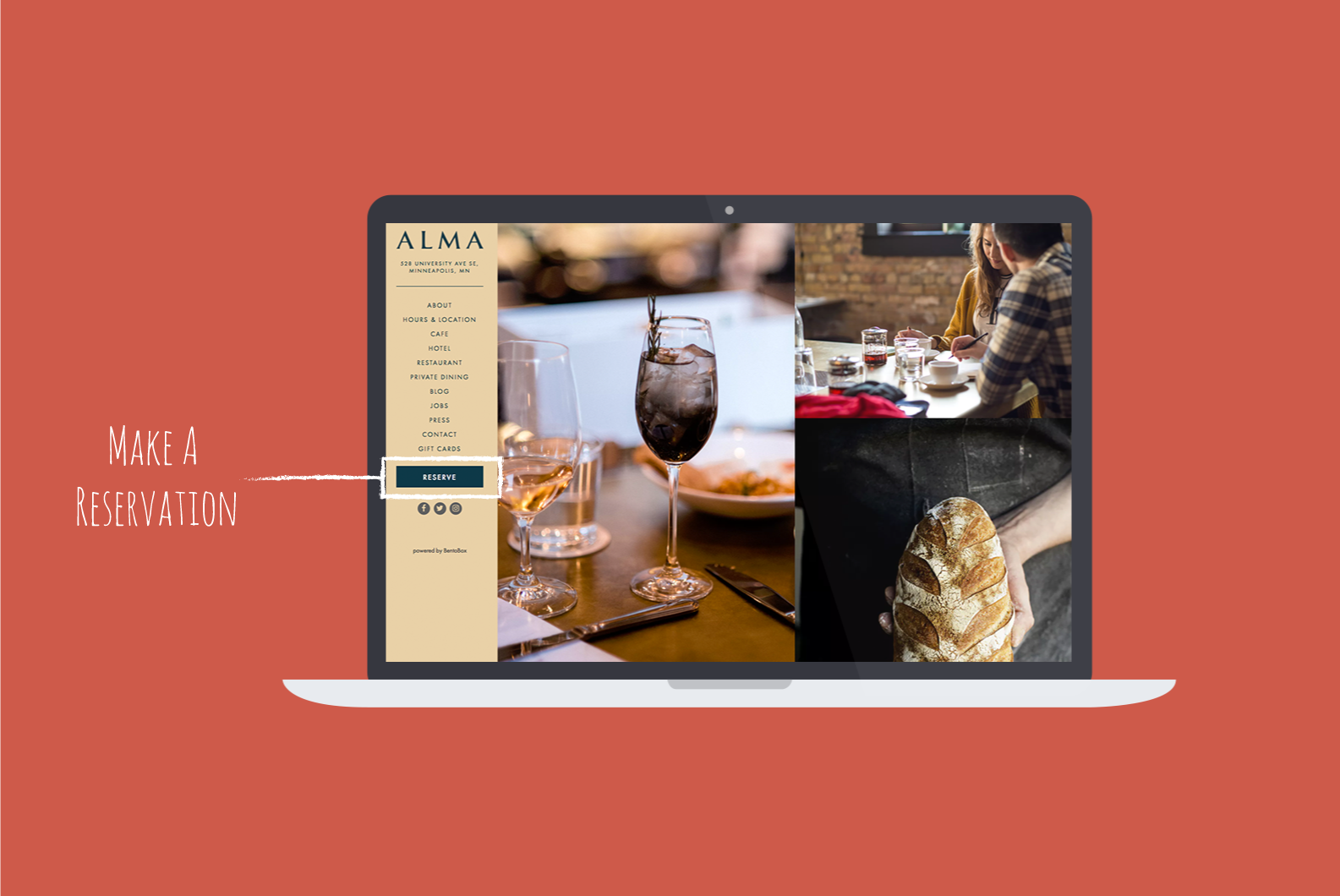 alma restaurant navigation with clear cta