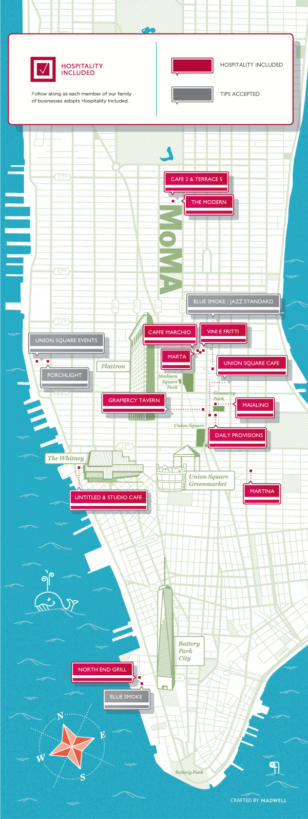 Map of the restaurants that have adopted Hospitality Included: currently Cafe 2 at MoMA, Caffe Marchio, Daily Provisions, Gramercy Tavern, Maialino, Marta, Martina, North End Grill, The Modern, Union Square Cafe, Untitled, and Vini e Fritti.